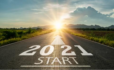 Planning concept 2021 written on the road in the middle of asphalt road at sunset © Fit Ztudio - Shutterstock